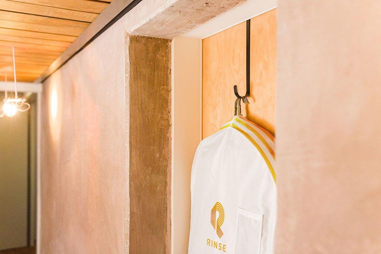 rinse garment bag hanging